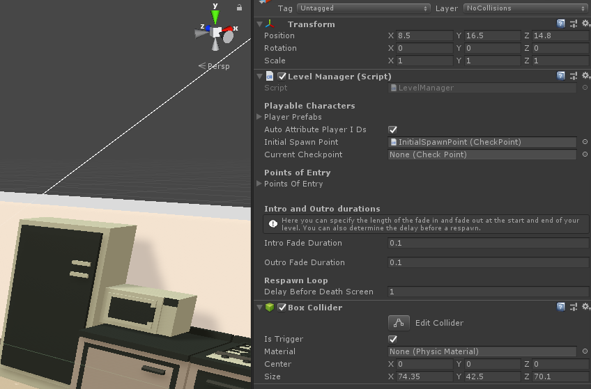 The LevelManager's inspector from the Loft demo scene